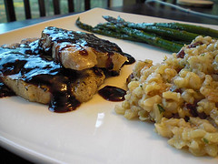 Pork Chops with a Raspberry Balsamic Reduction