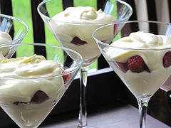Lemon Custard with Raspberries